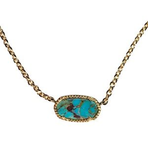 Turquoise oval faceted gold plated necklace